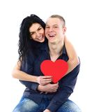 Couple with red heart on white background Royalty Free Stock Images