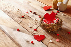 Couple of red hearts in the bird nest Royalty Free Stock Photo