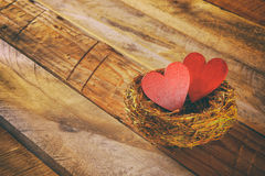 Couple of red hearts in the bird nest Royalty Free Stock Photography