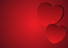 Couple red hearts with blank copy space on left Stock Photos