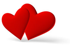 Couple of red hearts symbol diagonal view Stock Photo