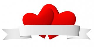 Couple of red hearts symbol with white ribbon Stock Images