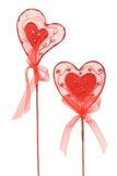 Couple of red hearts for Valentine. Isolated over white Royalty Free Stock Images