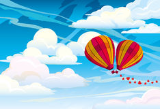 Couple red hot air balloons Stock Images