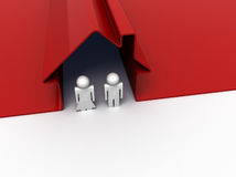 Couple in red house. 3d render of a couple standing in front of their house Stock Photo