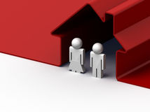 Couple in red house Royalty Free Stock Images