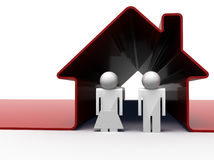 Couple in red house. 3d render of a couple standing in front of their house Royalty Free Stock Photos