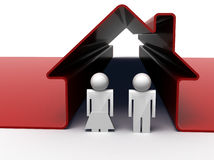 Couple in red house. 3d render of a couple standing in front of their house Stock Image