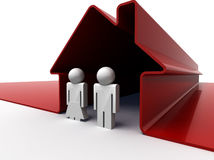 Couple in red house. 3d render of a couple standing in front of their house Royalty Free Stock Images