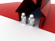 Couple in red house. 3d render of a couple standing in front of their house Royalty Free Stock Photo