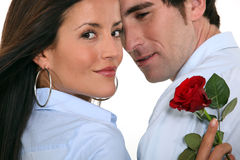 Couple with a red rose Royalty Free Stock Photo