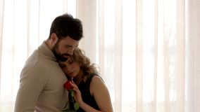 Couple and red rose. stock footage