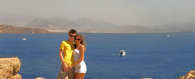 Couple on a Red sea royalty free stock image