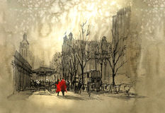 Couple in red walking on street of city