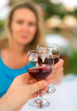 Couple with red wine. Royalty Free Stock Image