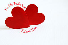 Couple of red wooden hearts Royalty Free Stock Photos