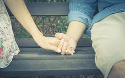 Couple relation man and woman hold hand Stock Photos