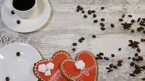 Couple relations. St Valentine`s Day concept. Top view of two cups of coffee held by female and male hands with heart. Couple relations. St Valentine s Day stock video footage