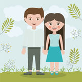 Couple relationship portrait design Royalty Free Stock Image
