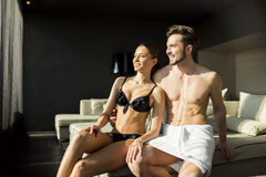 Couple relax and enjoy in the room Royalty Free Stock Photos