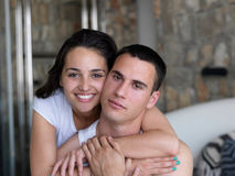 Couple relax and have fun in bed Stock Photo
