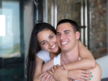 Couple relax and have fun in bed Royalty Free Stock Photos