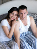 Couple relax and have fun in bed Royalty Free Stock Photo