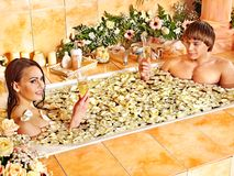 Couple relax  at spa with flower. Royalty Free Stock Photo