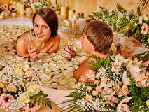 Couple relax  at spa with flower Royalty Free Stock Photo