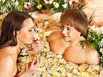 Couple relax  at spa with flower. Royalty Free Stock Photos
