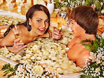 Couple relax  at spa with flower. Stock Image