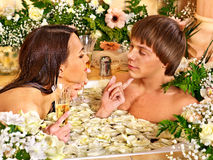 Couple relax  at spa with flower. Royalty Free Stock Photography
