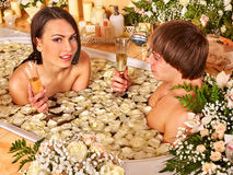 Couple relax  at spa with flower Royalty Free Stock Images