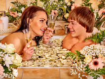 Couple relax  at spa with flower Royalty Free Stock Photos