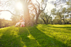 Couple relax under the tree. Fine art style. Olive garden. Royalty Free Stock Images