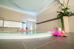 Couple relaxes in the tub Royalty Free Stock Photo