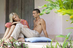 Couple Relaxin in Villa Royalty Free Stock Photos