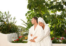 Couple relaxing after bath Stock Photos