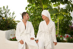 Couple relaxing after bath Royalty Free Stock Image