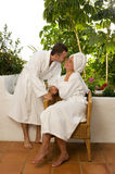 Couple relaxing after bath Royalty Free Stock Photos
