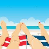 Couple Relaxing Beach Royalty Free Stock Images