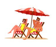 Couple relaxing on beach flat color illustration stock illustration