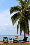 Couple relaxing on the beach of a tropical island Royalty Free Stock Photography