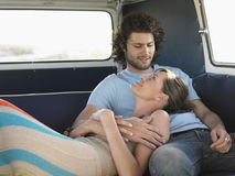 Couple Relaxing In Campervan Royalty Free Stock Images