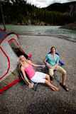 Couple Relaxing while Camping Royalty Free Stock Photography