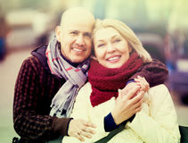 Couple relaxing during city walk royalty free stock photography