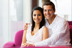 Couple relaxing coffee shop Stock Photo