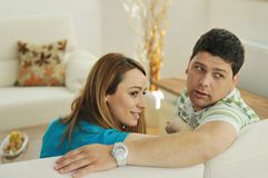 Couple relaxing at home Stock Photography