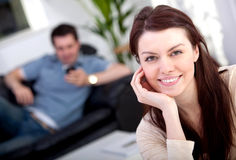 Couple relaxing indoors Stock Photos