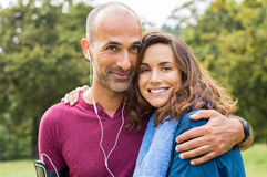 Couple relaxing after jogging Royalty Free Stock Images